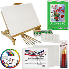 33pc Artist Acrylic Painting Set Wood Studio Table Easel, Paint & Accessori