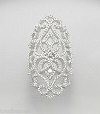 """Solid Sterling Silver Sparkling Knuckle Ring size 8 AntiqueLook 1.7"""" WIDE Beauty"""