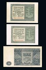 1941 - 1946 Poland Set of 3 circulated banknotes: 2x 1 Zloty and 1x 5 Zlotych