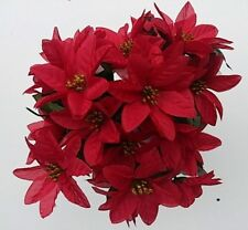 3 x RED POINSETTIA BUSHES ARTIFICIAL FLOWERS CHRISTMAS