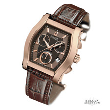 New Mens Bulova Accutron 64B112 Stratford Chronograph Brown Leather Strap Watch