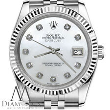 26mm Womens Rolex Datejust White MOP Mother of Pearl Dial w Diamond 18K/SS Watch
