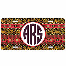 Personalized Car Tag Custom License Plate Monogrammed Leopard Print Aztec Red