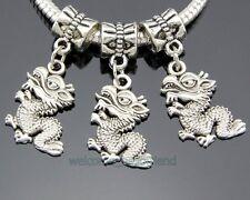 30pcs Tibetan Silver Dragon Dangle Charms Fit European Bracelet ZY240