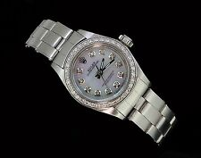 Rolex Ladies Oyster Perpetual Stainless Diamond Bezel Dial  Luxury