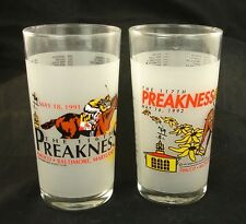 Set of 1991 1992 Preakness Official Souvenir Frosted Glass Pimlico Baltimore