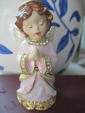 PINK  ANGEL ENAMEL  BEJEWELED  WITH AUSTRIAN CRYSTALS TRINKET BOX  5-3830  PK