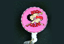 Pink BETTY BOOP Retractable Reel ID Card Badge Holder Key Chain Ring White