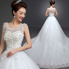 Women's Cute White O-Neck Solid Lace Floor-Length Ball Gown Dress