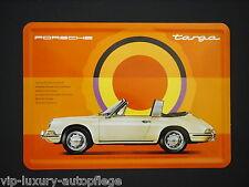 Porsche Classic 911 Targa Blechpostkarte Orange Postkarte aus Blech  Blechschild