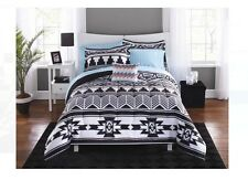 8 Pc Bed In A Bag Comforter Set Bedding Tribal Aztec Black White Twin/Twin XL