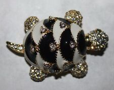 CINER  VTG.ENAMEL TURTLE PIN WITH RHINESTONES-EXCELLENT