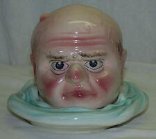 Rare Antique St Clement French Majolica Figural Head Serving Dish Tobacco Jar