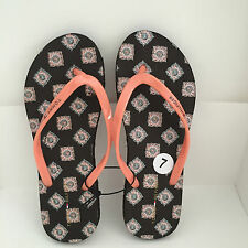 NEW! TOMMY HILFIGER BIGEL PEACH PAISLEY PRINT FLIP-FLOPS SLIPPERS SANDALS 7 8