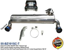 Exhaust Muffler duplex with titanium tips for SMART ForTwo 450 0.6L-0.7L Turbo
