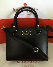 KATE SPADE WELLESLEY SMALL QUINN Black Leather Tote Bag Crossbody NWT