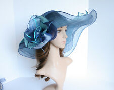 NEW Derby Wedding 3 Layers Sinamay  w Organza Flower Multi-Color Hat 5-40 Navy