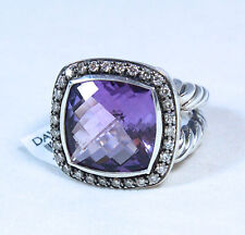 David Yurman Albion Cushion Ring 14mm Amethyst Diamond Silver Size 7 $1825 NWT