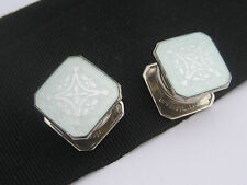 Antique Art Deco era B&W Sterling Silver Guilloche Enamel Cufflinks Snap Buttons