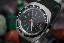 Vintage WALTHAM Hand Wind 17 Jewel Stainless Steel Orange Hand Diver's Watch