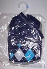 Navy Blue Argyle Pocket Pet Hoodie Size Large Dog Clothes Sweat shirt coat