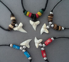 5 pieces REAL SHARK TOOTH NECKLACE PENDANT PARTY BAG FESTIVAL SURFER JEWELLERY