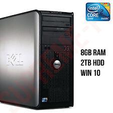 FAST DELL QUAD CORE 2TB HDD PC COMPUTER DESKTOP TOWER WINDOWS 10 WI-FI 8GB RAM