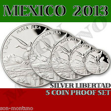 2013 MEXICO - SILVER LIBERTAD 5 COIN PROOF SET  Mint Fresh in Original Capsules