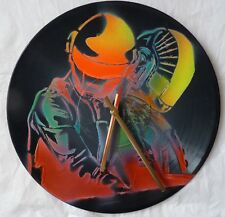 Daft Punk inspired record wall clock..popart..glastonbury..recycled
