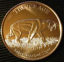 1 Oz Copper Round The Ice Age - Saber Toothed Tiger