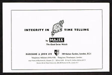 1950's Vintage 1956 Marchand Jobin Co. - Majex Watch - Paper Print AD
