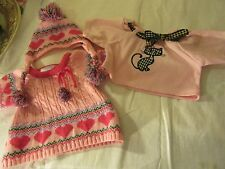 Build A Bear Lot Pink Sweater & Matching Hat and Pink Kitty Shirt