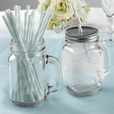 25 PAPER DRINKING STRAWS Ivory Blue Stripes TO HAVE & TO HOLD Vintage Wedding