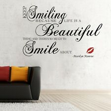 Smiling Beautiful Smile Wall Decor Removable Vinyl Decal Sticker Art DIY Mural
