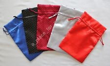 "NEW SET of 5 PCS Satin Dot Unlined Drawstring Gift Bag Pouch 6"" x 9"""