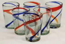 Mexican Glasses Hand Blown Red Blue Stripes Tumbler set 6 Glassware Mexico Glass