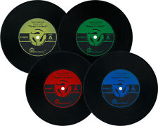 Set of 4 Vinyl Record Coasters Silicone Decor 33rpm 45rpm Classic Pinup Music