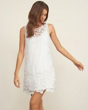 NWT Abercrombie & Fitch AFFLORAL LACE SHIFT DRESS Size XS White