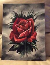 ORIGINAL ART RED ROSE OIL ON CANVAS BOARD BY ART BY THREE