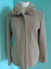 PRINCIPLES LIGHT BROWN WOOL MIX JACKET SIZE 8 FULLY LINED FAUX FUR COLLAR