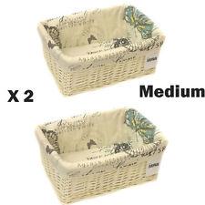 2 x MEDIUM BIANCO VIMINI CESTO di stoccaggio con fodera in stoffa butterfly-9364-mbt-2pk