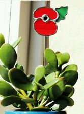 Handmade Stained Glass British Legion Style Poppy - Plant Pot Accessory