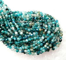 uk cheapest- blue agate round faceted 4mm gemstone beads blue