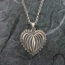 Large Ribbed Heart 2 Pictures Locket Sterling Silver by Michael Bromberg