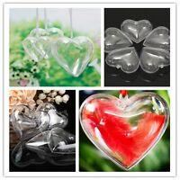 Clear Plastic Hearts Christmas Wedding Baubles Xmas Tree Decoration Hang Ball