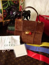 Rare Vintage GUCCI Brown Suede Leather Kelly Hand Bag Purse Tote GG - AS IS
