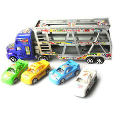 """Funny Big 12.4"""" Tow Flat Truck Tractor 4 Small Cars Kids' Gift Vehicle Model Toy"""