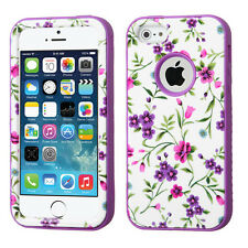 for iPhone 5 5S Pink Purple Flowers High Impact Armor Hard&Soft Rubber Skin Case