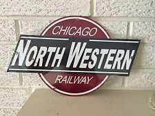 "Chicago Northwwestern Railway  Logo Aluminum Sign Size 14"" x 8.5"" New"