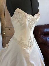 HOLLYWOOD DREAMS Ivory wedding dress size 12 SILK Princess fairytale ballgown!